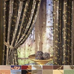 Belvedere Faux Silk Embroidered Floral Curtain Panel by Softline (lined, grommet extra) dry clean; panels only 55 wide