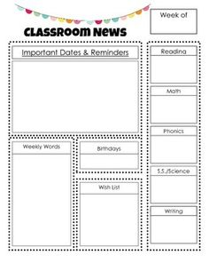 Love this idea to keep parents included in the classroom each week not just the standard school newsletter Weekly Classroom Newsletter, Class Newsletter, Kindergarten Newsletter, Classroom Newsletter Template, Newsletter Templates, Parent Newsletter, Parent Teacher Communication, Parent Teacher Conferences, First Grade Classroom