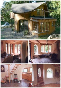 Hilde's Cob Cabin is made out of cob, a mixture of sand clay and straw, and is only 600 square feet with two floors and full electricity and plumbing. The interior is beautiful with a Southwestern feel to it and a beautiful staircase that leads to the loft upstairs.