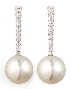 P3852 Eli Jewels White South Sea Pearl & Diamond Bar Drop Earrings