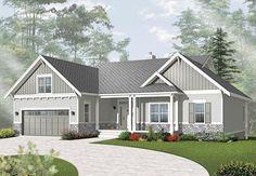 Craftsman Style House Plans, Ranch House Plans, Craftsman Porch, Modern Craftsman, Craftsman Homes, Craftsman Exterior, Modern Farmhouse, House Paint Exterior, Exterior House Colors