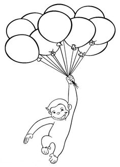 Curious George Coloring Pages Unique Curious George with Balloons Coloring Page Curious George Coloring Pages, Monkey Coloring Pages, Dinosaur Coloring Pages, Cartoon Coloring Pages, Colouring Pages, Coloring Pages For Kids, Coloring Sheets, Coloring Books, Coloring Worksheets