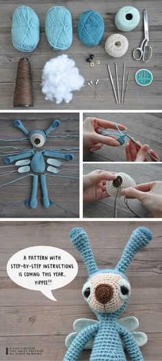 amigurumi photo step-by-step Diy Tricot Crochet, Crochet Crafts, Crochet Dolls, Yarn Crafts, Crochet Projects, Crochet Stitches, Crochet Bunny, Amigurumi Patterns, Crochet Patterns
