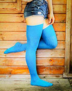 Thigh High Socks, Knee Socks, Thigh Highs, Long Tall Sally, Custom Socks, Aqua, Turquoise, My Socks, Yarn Colors