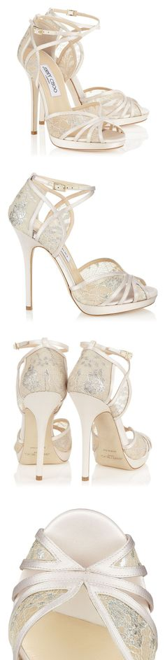 "Jimmy Choo ""FAYME"" Ivory and White Satin Sandals"