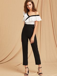 Shop Two Tone Flounce Asymmetric Shoulder Tailored Jumpsuit online. SheIn offers Two Tone Flounce Asymmetric Shoulder Tailored Jumpsuit & more to fit your fashionable needs.