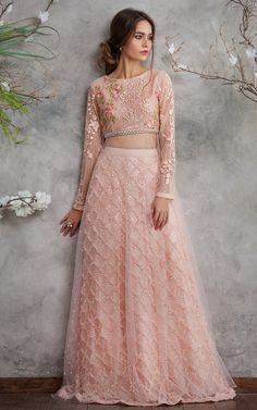 Pakistani Wedding Dresses by Threads & Motifs Features this Elegant Net Embroidered Blouse with Lehenga Skirt