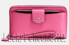 COACH 53940B BOXED POCKET PHONE WALLET WRISTLET SILVER/DAHLIA PINK NWT #Coach #Wristlet