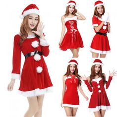 Fashion Sexy Women's Miss Mrs Santa Claus Fancy Dress Christmas Costume Cosplay Outfits Reindeer One Size Complete Outfit Hat Polyester + Velvet China Adult Women Lady Xmas Style Button Belt Cosplay Outfits, Sexy Outfits, Dress Outfits, Cute Outfits, Christmas Costumes, Halloween Outfits, Santa Costumes, Christmas Fancy Dress, Ugly Christmas Sweater