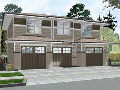 050g 0078 Carriage House Plan With Contemporary Details 3 Car Garage Plans