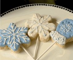 Snowflakes & Mittens Chocolate Dipped Rice Krispy Treats