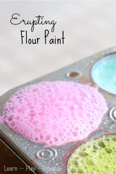 Homemade paint recipe that erupts! Erupting art for kids - I wonder if this would work w/ GF flour. Indoor Activities For Kids, Science For Kids, Art Activities, Projects For Kids, Diy For Kids, Crafts For Kids, Kids Fun, Homemade Paint, Play Food