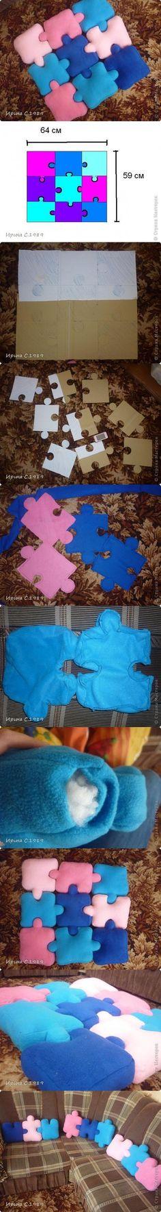 DIY Tutorial: DIY Pillow Shams / DIY Puzzle Pillows - Bead&Cord