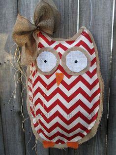 READY TO SHIP Owl Burlap Door Hanger Door by nursejeanneg on Etsy