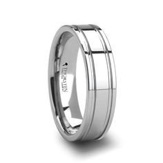 ANTWERP Tungsten Carbide Ring with Dual Offset Grooves   6mm & 8mm