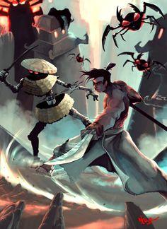 Samurai Jack by Samurai Jack, Afro Samurai, Comic Character, Character Concept, Character Design, Concept Art, Teen Fantasy Books, Samurai Artwork, Japanese Warrior