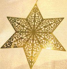 Stern, Christbaumschmuck, Messing ca. 8cm, mit Goldband