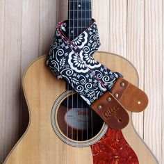 Black Flower Graphic Guitar Strap by Qilinlibrary on Etsy