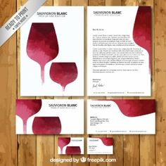 Hand painted wine stationery