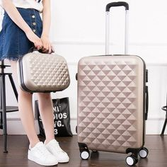 "20""24""28""inch Diamond design Luggage Set, Women's Lightweight Wearable Suitcase,Colorful ABS Travel Box,Rolling Trolley Hardcase"