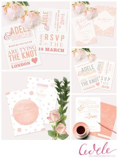 Wedding Invitations which can be custom coloured. Here's a selection of peachy prints...