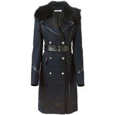 Altuzarra Lamb Fur Collar Trench Coat ($2,135) ❤ liked on Polyvore featuring outerwear, coats, jackets, casaco, tops, blue, fur collar trench coat, fur collar coat, blue coat and altuzarra