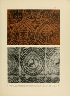 """Die Kunst des Zeugdrucks vom Mittelalter bis zu. ... """"Romanesque silver print on a red brown linen, Lower Rhine, XII-XIII century."""""""
