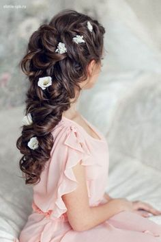 Bridal hairstyle inspiration | Curly hair bridal braids | Flower in hairs | Mehendi look inspiration | Messy braids | Bridal updo | Source: Pinterest | Every Indian bride's Fav. Wedding E-magazine to read. Here for any marriage advice you need | www.wittyvows.com shares things no one tells brides, covers real weddings, ideas, inspirations, design trends and the right vendors, candid photographers etc.