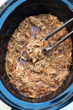 This Slow Cooker Shredded BBQ Chicken is an incredibly easy way to create tender, shredded BBQ chicken that can be used in a variety different meals. Baked Chicken Legs, Chicken Leg Recipes, Shredded Chicken Recipes, Shredded Pork, Keto Chicken, Slow Cooker Recipes, Crockpot Recipes, Healthy Recipes, Healthy Dinners