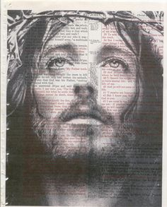 I printed a picture of Jesus over a old large bible page.  I made a couple of these and will mat and frame them