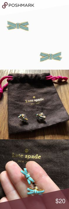Kate Spade Double bow stud earrings teal blue They come with a dustbag kate spade Jewelry Earrings