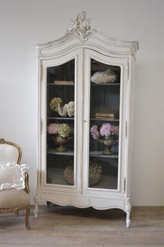 vintage French Display Armoire by FullBloomCottage on Etsy