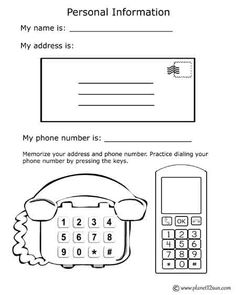 Free printable black & white worksheet. Name, address, phone number.