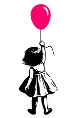 Vector hand drawn black and white silhouette illustration of a toddler girl standing with pink red balloon in hand, back view. - Buy this stock vector and explore similar vectors at Adobe Stock Black And White Sketches, Black And White Portraits, Pencil Drawings Tumblr, Art Drawings, Anime Couples Drawings, Street Art Photography, Urban Street Art, Girl Standing, Stencil Art