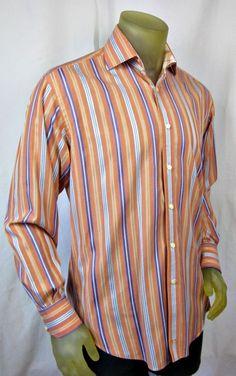 Thomas Dean Mens Long Sleeve 100% Cotton Shirt Multi Striped Flip Cuffs Medium #ThomasDean #ButtonFront