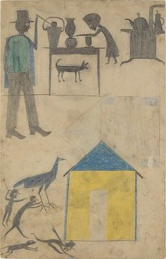 Bill Traylor    ...Kitchen Scene, Yellow House, (1854-1947) circa 1939-42