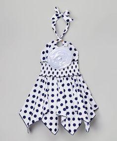 White & Navy Dot Floral Handkerchief Dress - Toddler & Girls