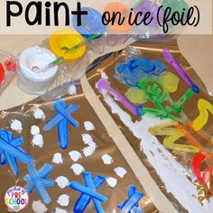 Winter Themed Activities and Centers (Snowman at Night Freebie too)! - Pocket of Preschool - Paint on ice (foil)! Snowman at Night FREEBIE plus my go to Winter themed math, writing, fine motor - Snow Activities, Science Activities, Kindergarten Activities, Disney Activities, Preschool Science, Motor Activities, Science Art, Preschool Crafts, Crafts For Kids