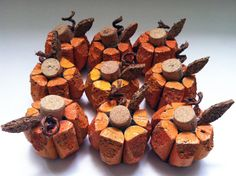 small pumpkin made from recycled corks on Etsy, $5.00