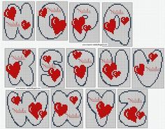 amour - love - alphabet - coeur -  point de croix - cross stitch - Blog : http://broderiemimie44.canalblog.com/