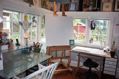 Martha Lever studio - I love the light in this studio and the high self with art.