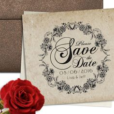 Personalized Save The Date Announcement Rubber Stamper With Unique Decorative Floral Circular Design - Wood Mounted Stamp by 2impress on Etsy https://www.etsy.com/listing/95030617/personalized-save-the-date-announcement