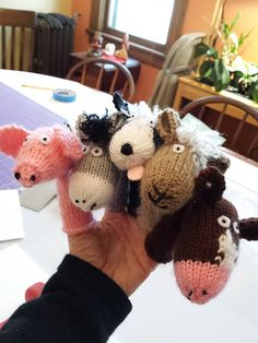 Ravelry: Project Gallery for Down on the Farm Animal Finger Puppets pattern by Lindsay Mudd