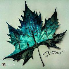 leaf art so pretty Illustration, Wow Art, Leaf Art, Art Plastique, Cool Drawings, Art Inspo, Painting & Drawing, Amazing Art, Awesome