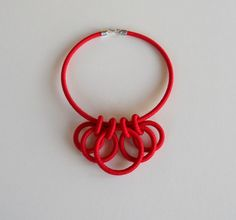 Textile Statement Necklace Red por fiber2love
