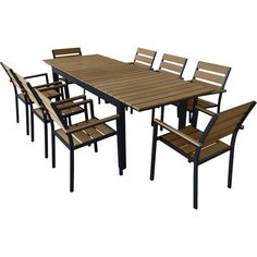 "Urban Furnishing's eco-wood extendable outdoor Patio dining set is a modern outdoor patio dining set that offers trendy styling, clean lines, comfort and durability. The rectangular table offers plenty of room for dining and entertaining, while the chairs are extremely comfortable. Set comes with 8 chairs that are stackable for easy storage. Table is extendable from 70.8"" to 94.5"". This will ensure plenty of room for all of your guest. With durable powder coated aluminum frame a..."