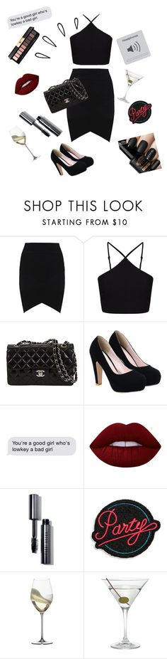 """Partyy🖤"" by victoriajassan ❤ liked on Polyvore featuring Miss Selfridge, Old Navy, Lime Crime, Bobbi Brown Cosmetics, Marc Jacobs, Riedel, Nordstrom and Yves Saint Laurent"
