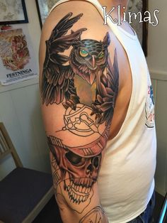 #klimastattoo#owl#tattooowl#newschool#