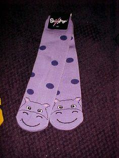 HIPPO HIPPOPOTAMUS on ladies thick purple polka dot slipper socks NEW #SlipperSocks