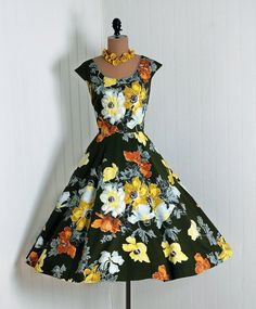 Sun Dress, Marc-el Fashions, Miami Beach: 1950's, watercolor floral quilted rhinestone beaded cotton.